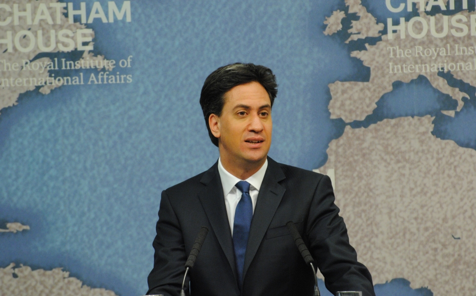 Ed Miliband speaking at Chatham House.